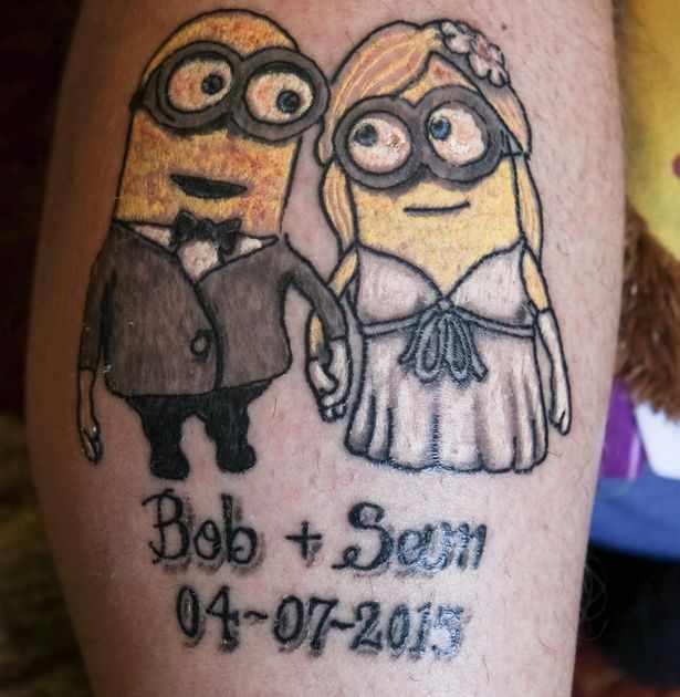Memorial Bride And Groom Minion Tattoo Design