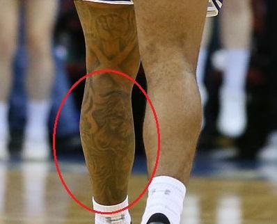 Myles Powell Left Leg Back Tattoo