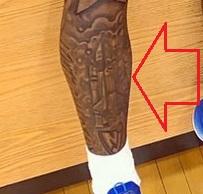 Myles Powell Right Leg Front Tattoo