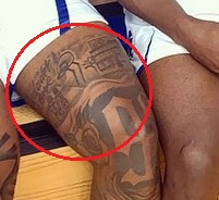 Myles Powell Left Thigh Tattoo