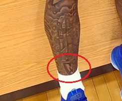 Myles Powell Right Leg NJ Tattoo