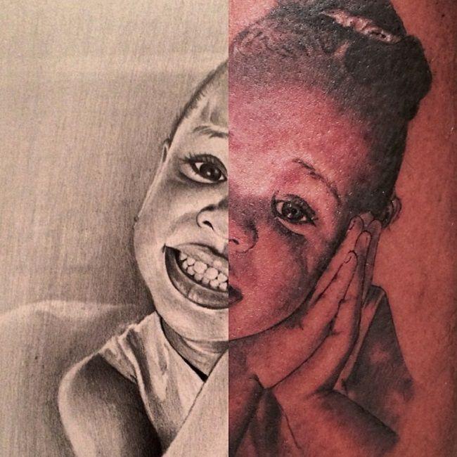 The Game-Lil Cali portrait tattoo