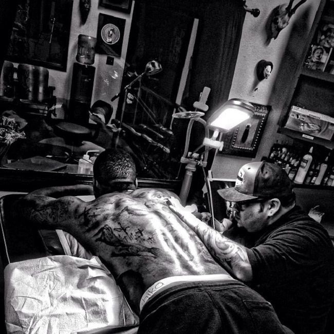 The Game-Nelson Mandela portrait tattoo