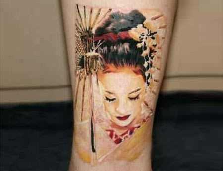 geisha forearm tattoo