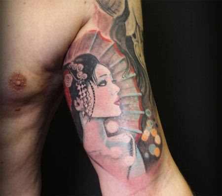 upper arm geisha ttatoo