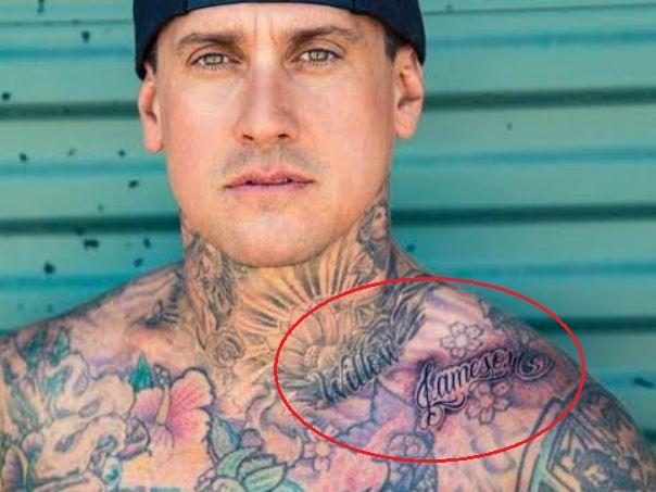 Carey Hart angels flowers names tattoo 1