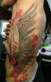 Chris Motionless Left Side Wings Tattoo