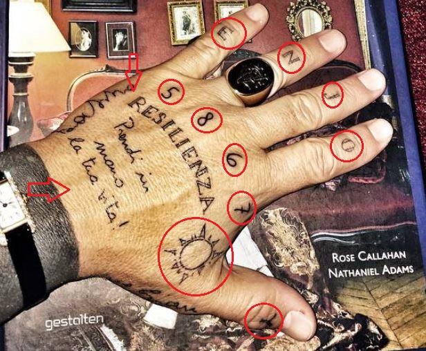 Gianluca Vacchi left hand tattoo