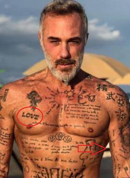 Gianluca Vacchi love bicep tattoo