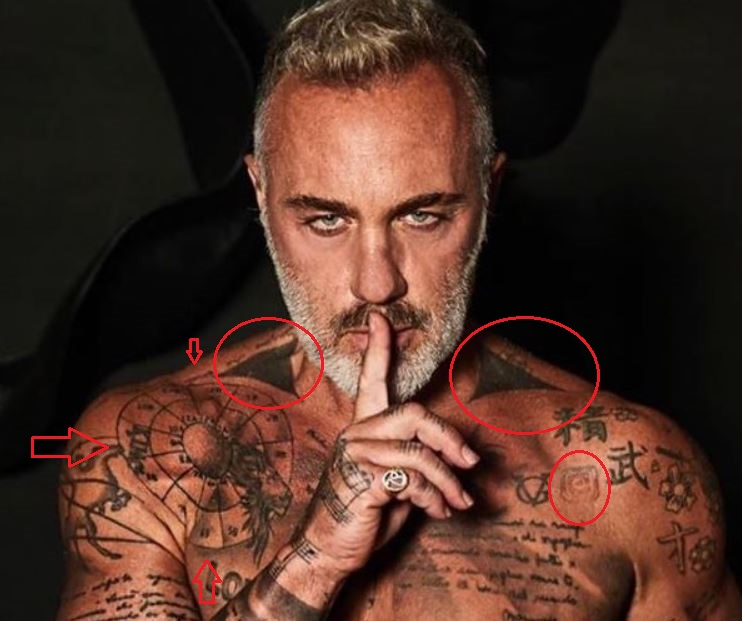 Gianluca Vacchi mapping circle arrows logo tattoo