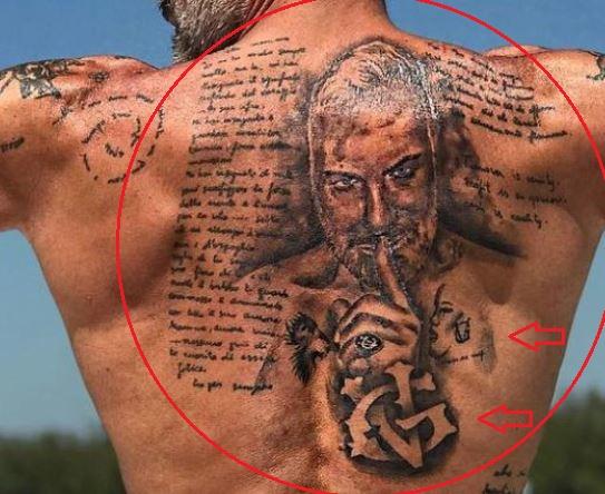 Gianluca Vacchi portrait tattoo
