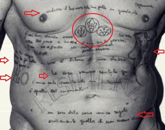Gianluca Vacchi stomach tattoo