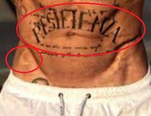Gianluca Vacchi word moon tattoo