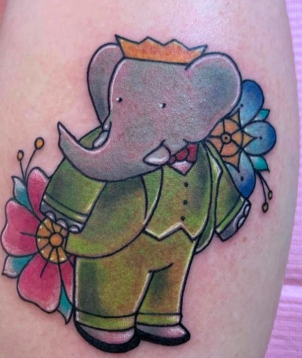 babar the elephant-tattoo