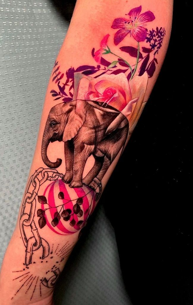 chained elephant-tattoo