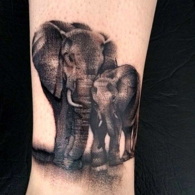 couple elephant tattoo