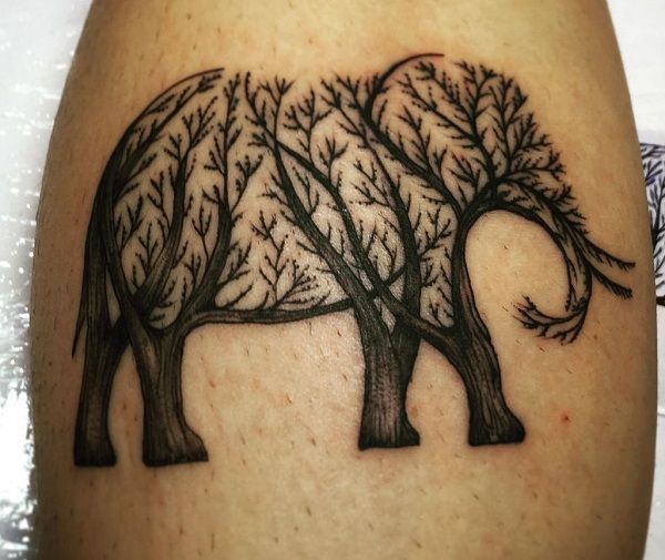 elephant of trees-tattoo