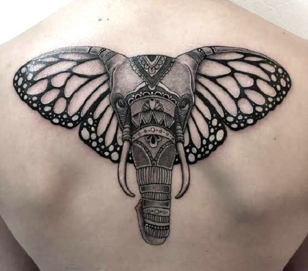 elephant with butterfly wings tattoo