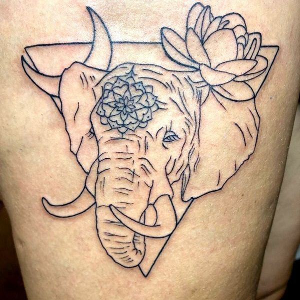 elephant with crescent moon and lotus-tattoo