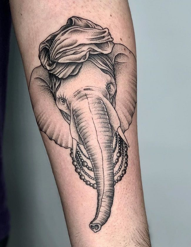 elephant with turban tattoo