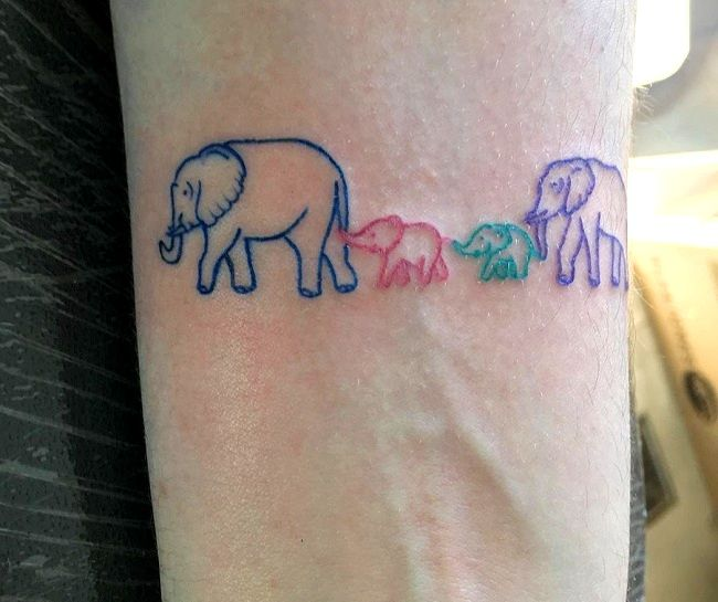 family of elephants tattoo