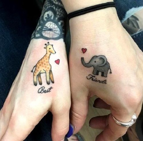 giraffe and elephant-tattoo