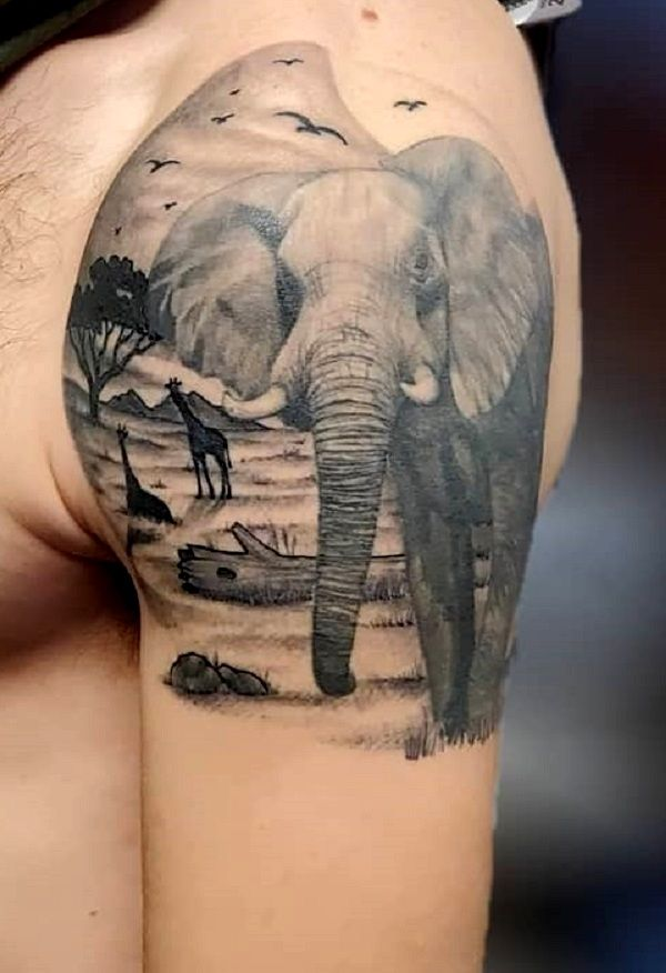 jungle theme elephant-tattoo