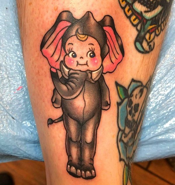 kewpie elephant-tattoo