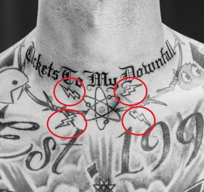 lightning bolt tattoo of machine gun kelly