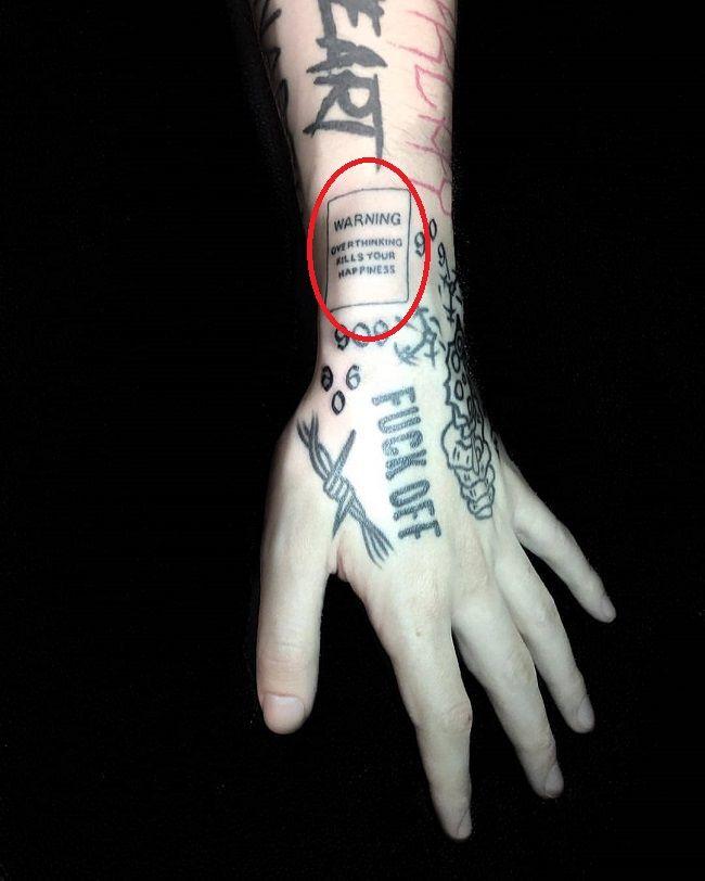 lil xan-warning overthinking kills your happiness tattoo