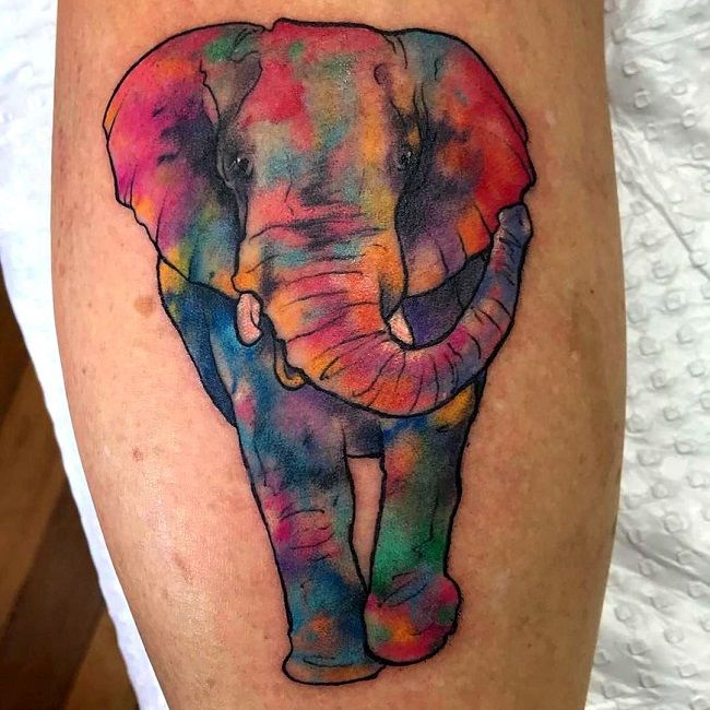 multicolored elephant-tattoo