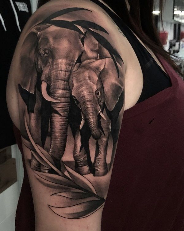 realistic elephant portrait-tattoo