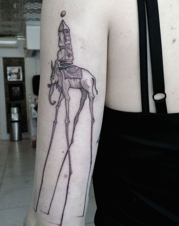 salvador dali elephant tattoo