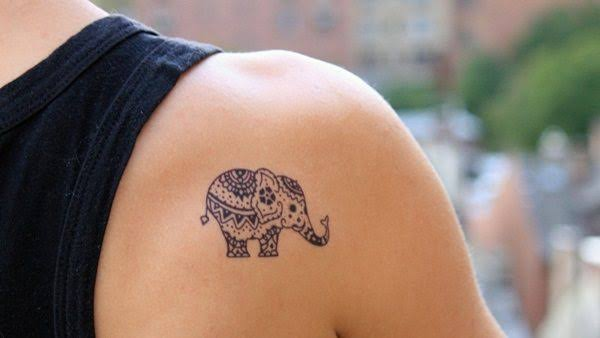 tiny mandala elephant tattoo