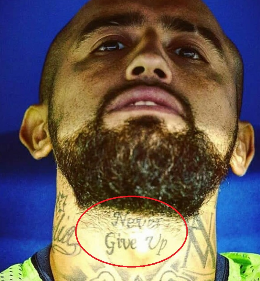 Arturo Neck Tattoo Never Give Up