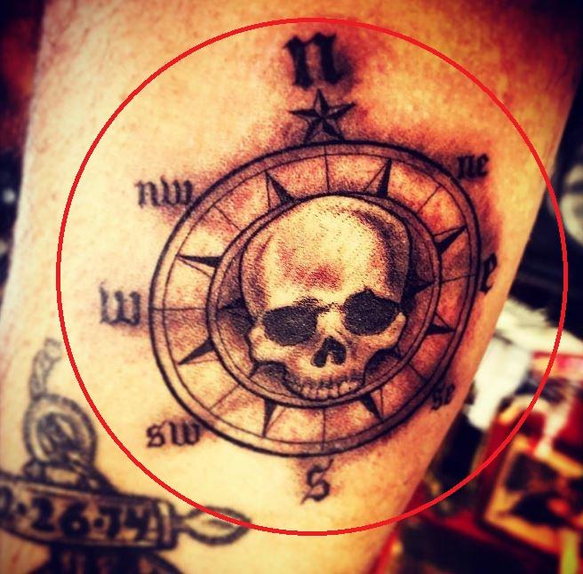 Chris Töpperwien compass tattoo
