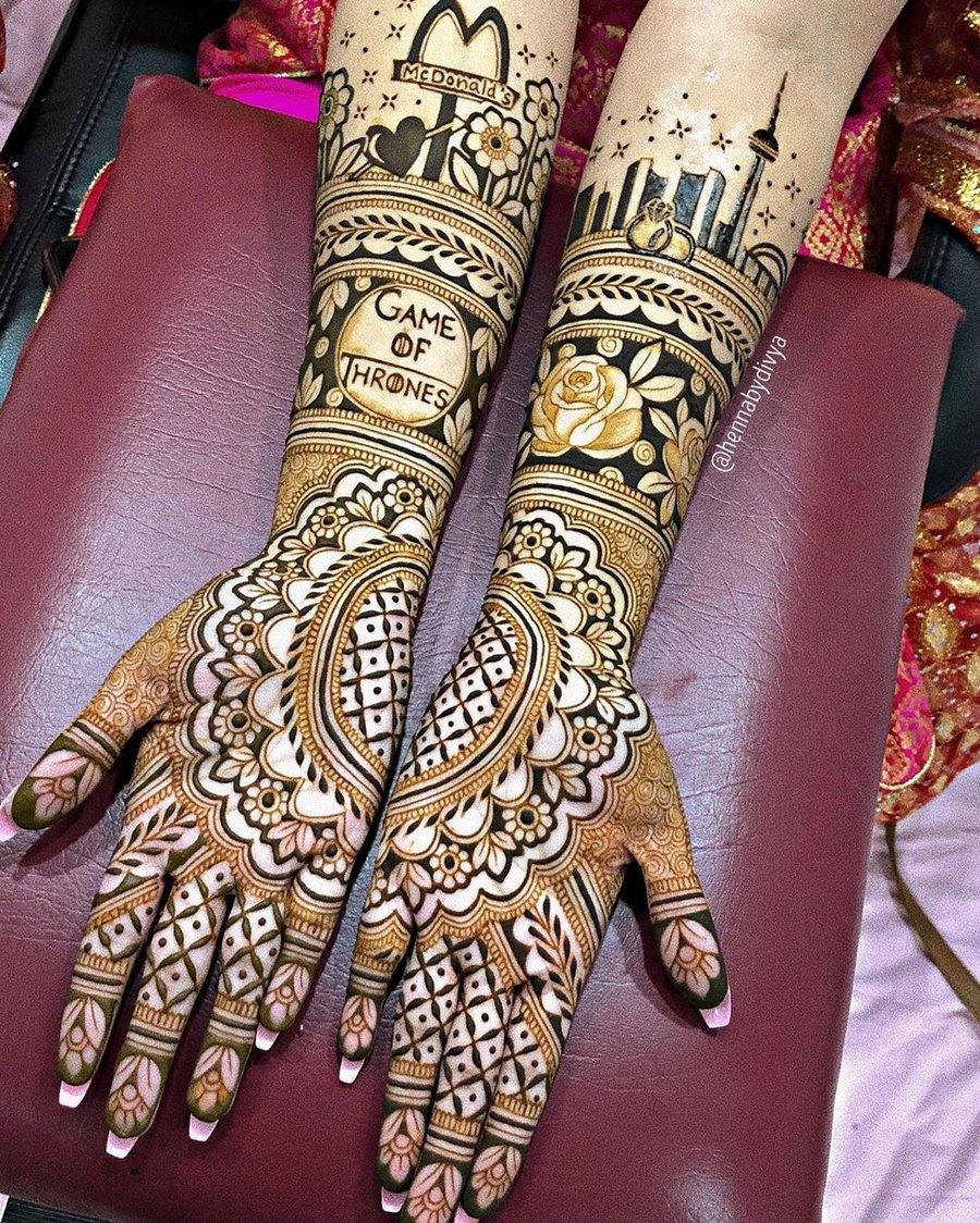 full hand bridal mehndi design with name