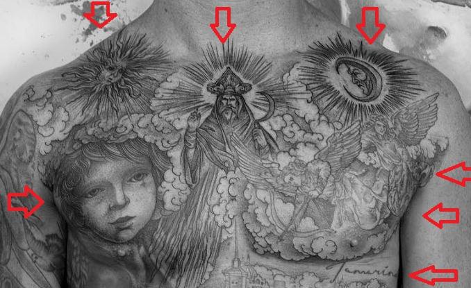 Chippa Wilson sun moon angels tattoo
