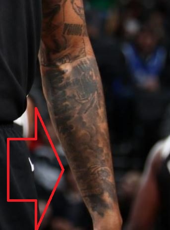 D Angelo Tattoo on Left Inner Arm