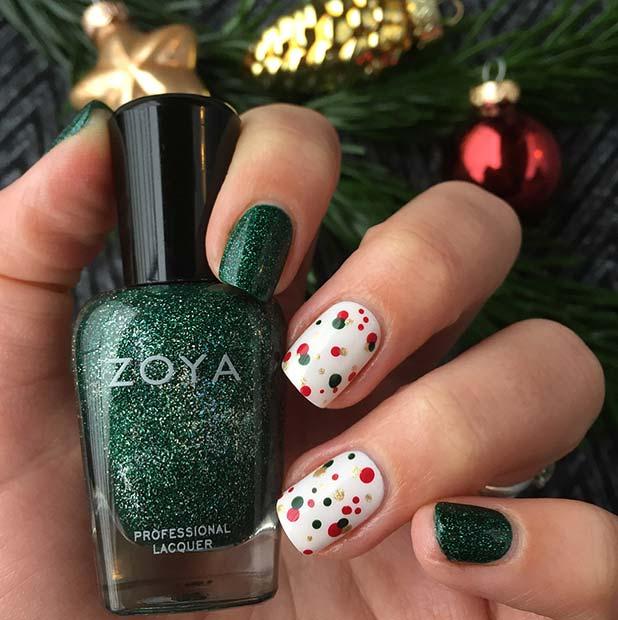 Hasil gambar untuk Combining polka-dot and glitter nail polish creations