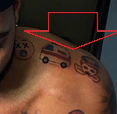 Mike Scott Emojis on Left Shoulder