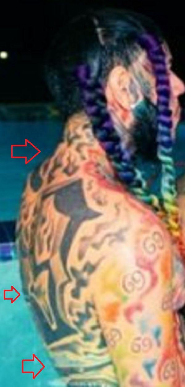 back tattoo of 6ix9ine