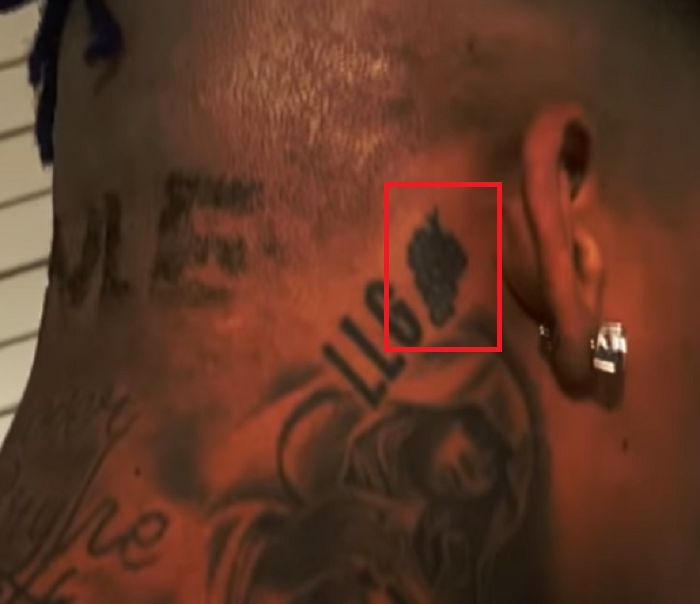 right ear tattoo NLE Choppa