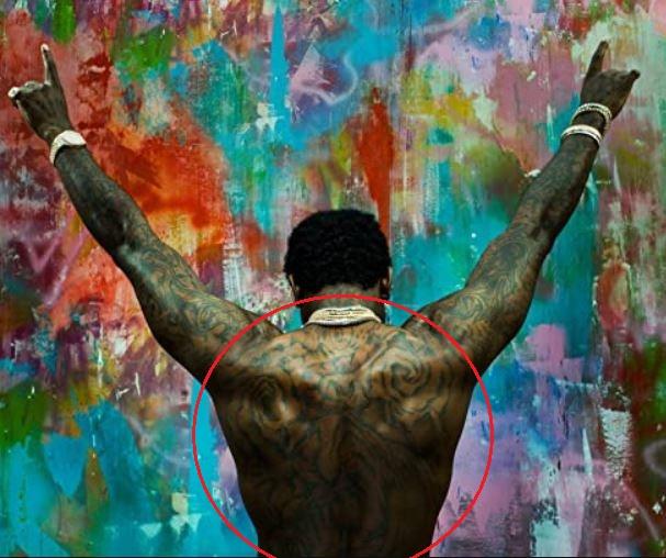 Gucci Mane back tattoo