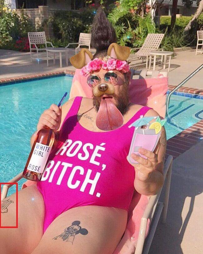 Joshua Ostrovsky-The Fat Jewish-Right thigh Tattoo