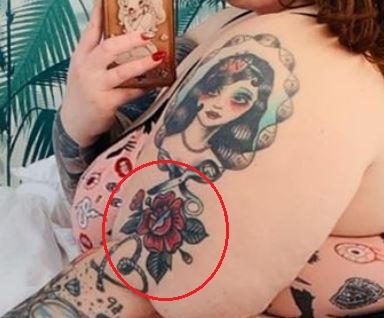 Tess Holliday rose tattoo