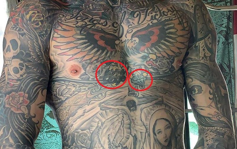 Trace Cyrus-Diamond and Knuckle tattoo