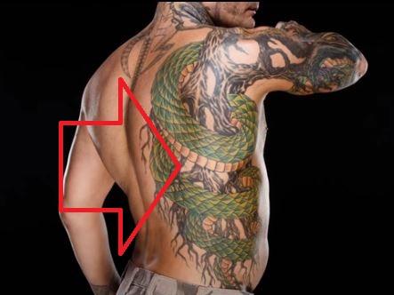 Jeff SNake on back Tattoo