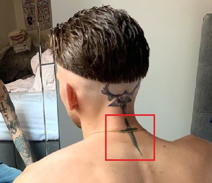 Jeremy Ruehlemann-Dagger Tattoo