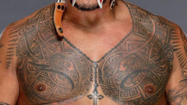 Rey chest tribal tattoo